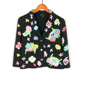 Anthropologie One Girl Who Embroidered Sweater